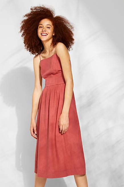 7654d11ee9a3bd Aus Leinen-Mix: Kleid mit Zier-Knopfleisten