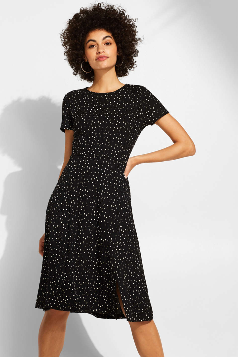 edc - Stretch jersey dress with a polka dot print and a button placket