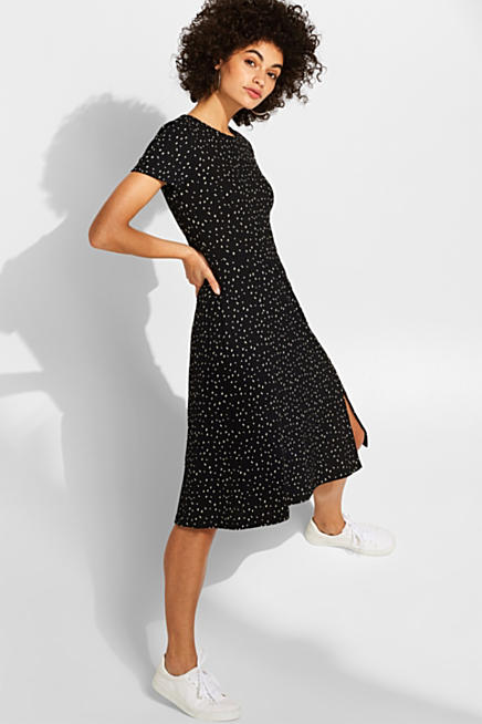 4365fdae152f0 Stretch jersey dress with a polka dot print and a button placket