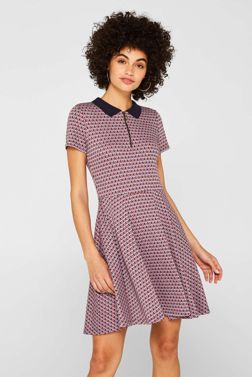 Patterned jersey dress with a polo collar, NAVY, detail image number 0