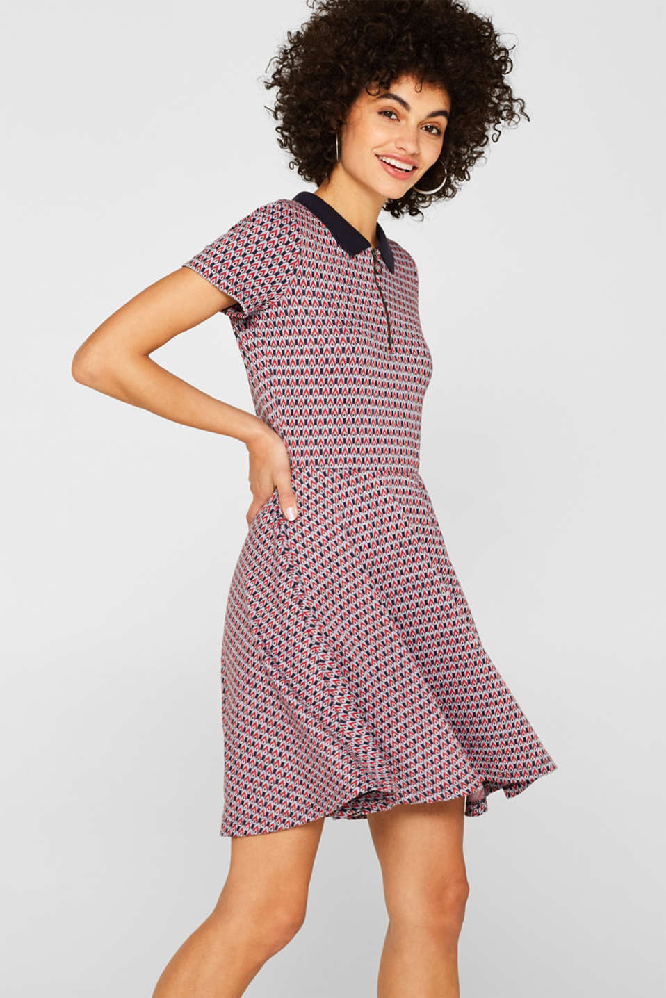 Patterned jersey dress with a polo collar, NAVY, detail image number 5
