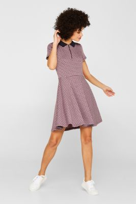 Patterned jersey dress with a polo collar, NAVY, detail