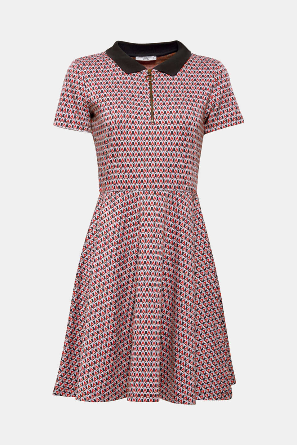 Patterned jersey dress with a polo collar, NAVY, detail image number 6