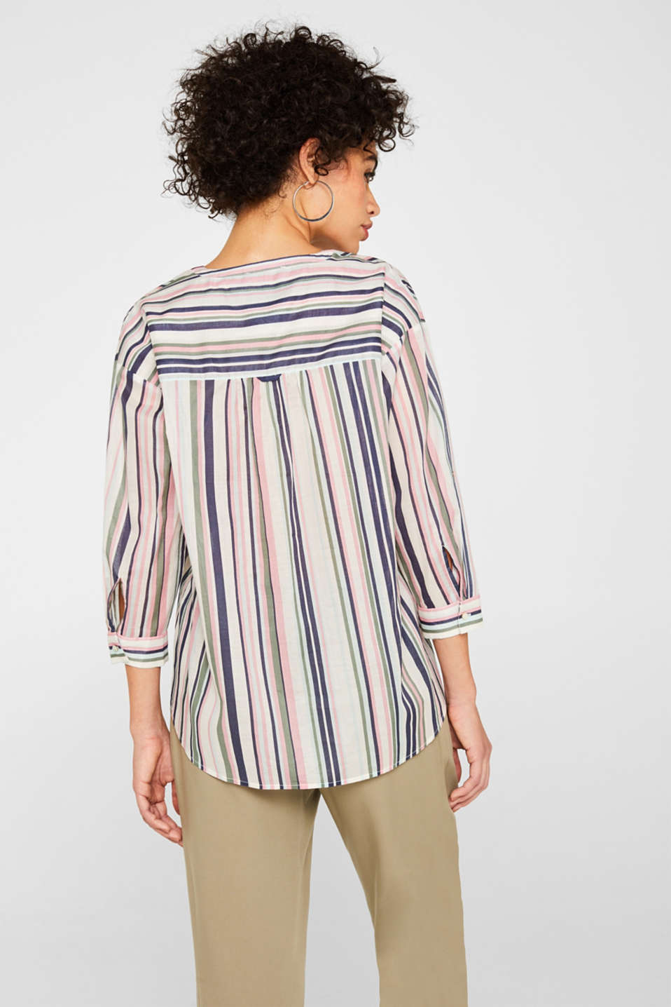 Printed blouse with turn-up sleeves, 100% cotton, OFF WHITE, detail image number 3