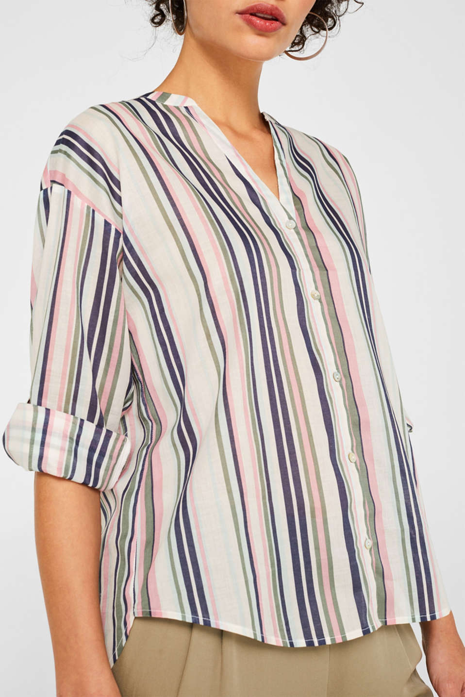 Printed blouse with turn-up sleeves, 100% cotton, OFF WHITE, detail image number 2