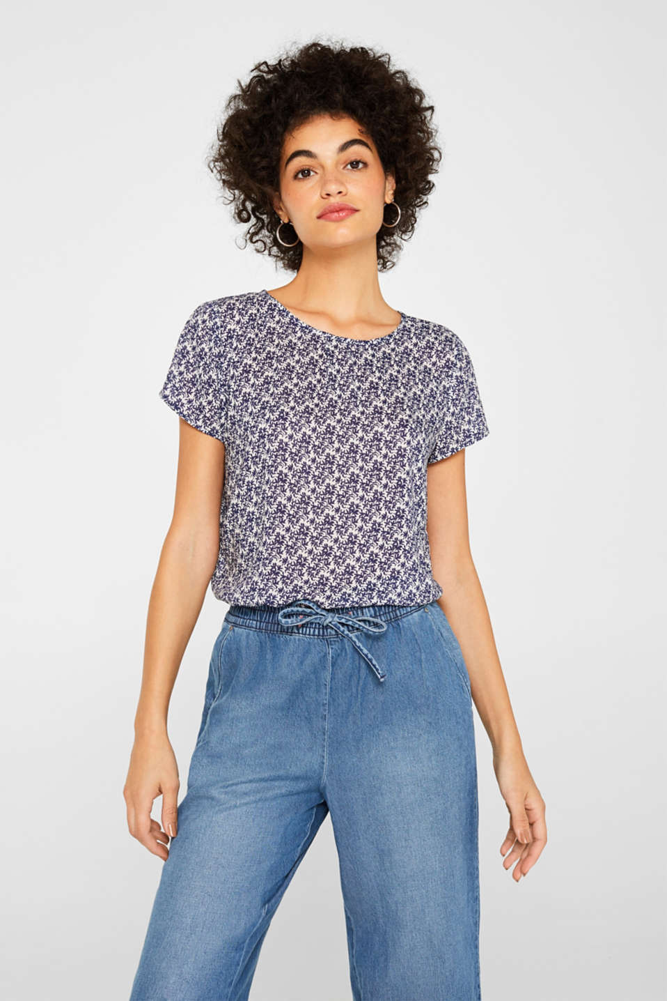 edc - Blouse top with a fashionable print