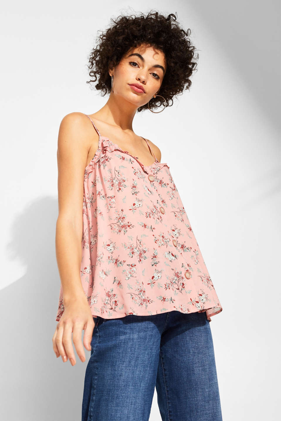 Woven printed top with a decorative button placket, BLUSH, detail image number 0