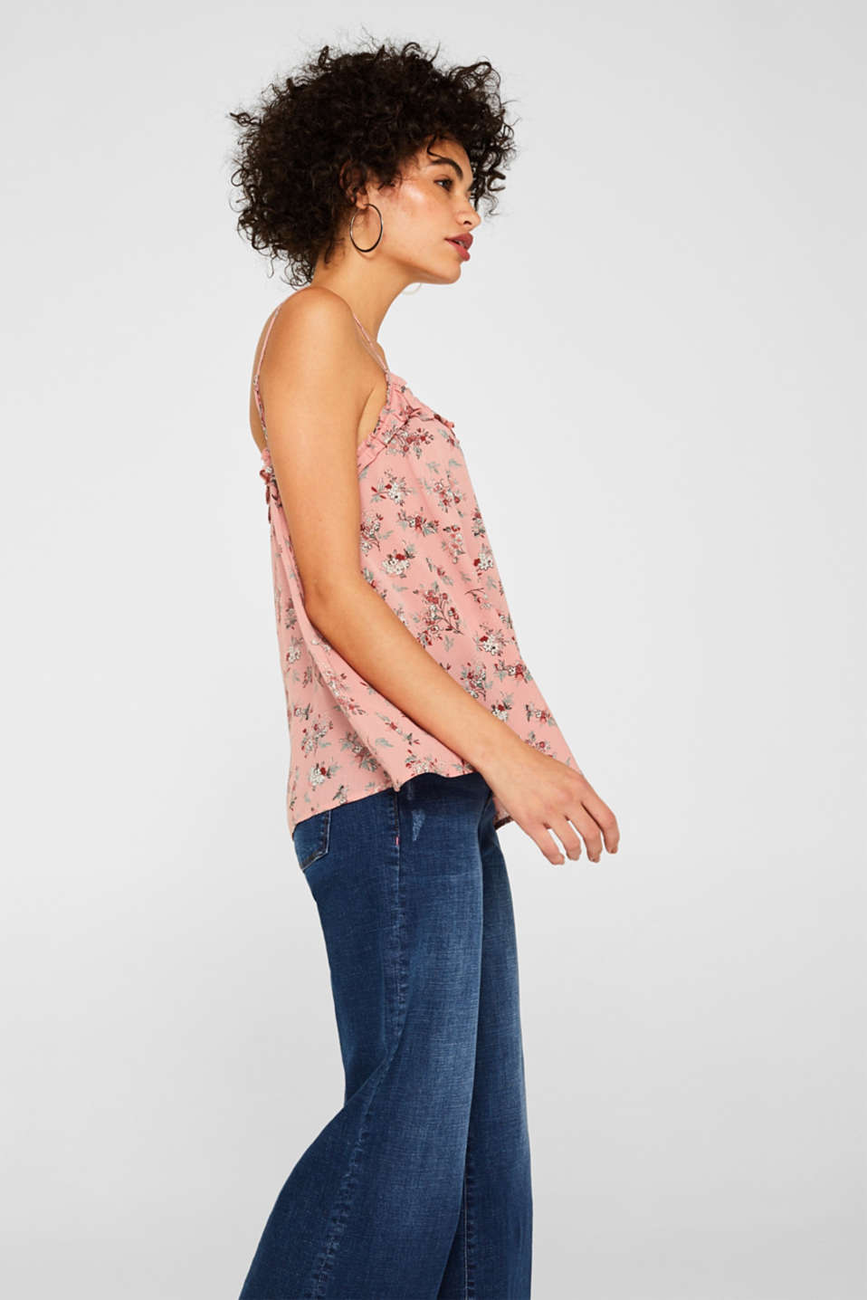 Woven printed top with a decorative button placket, BLUSH, detail image number 5
