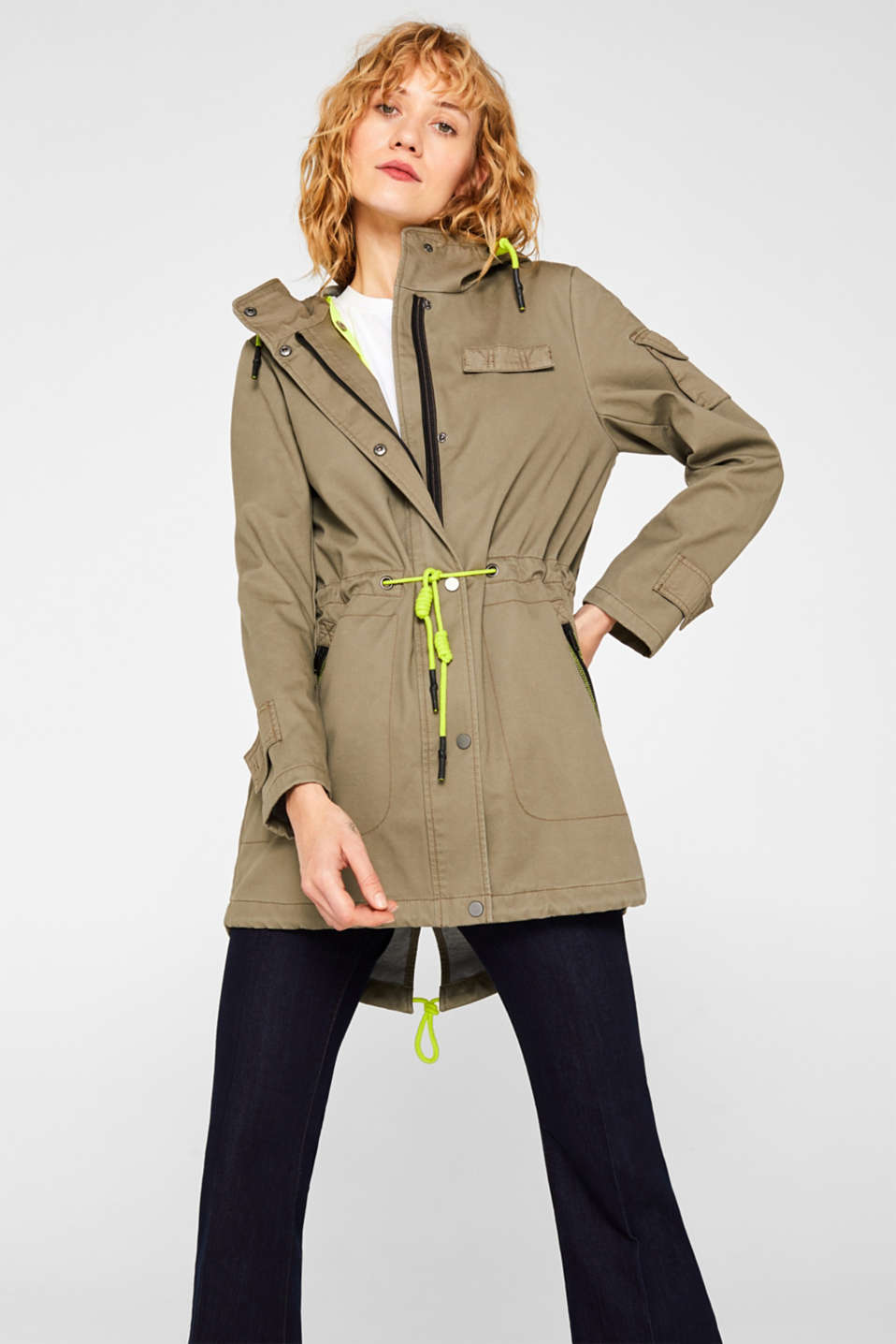 2-in-1: cotton parka + neon quilted bodywarmer