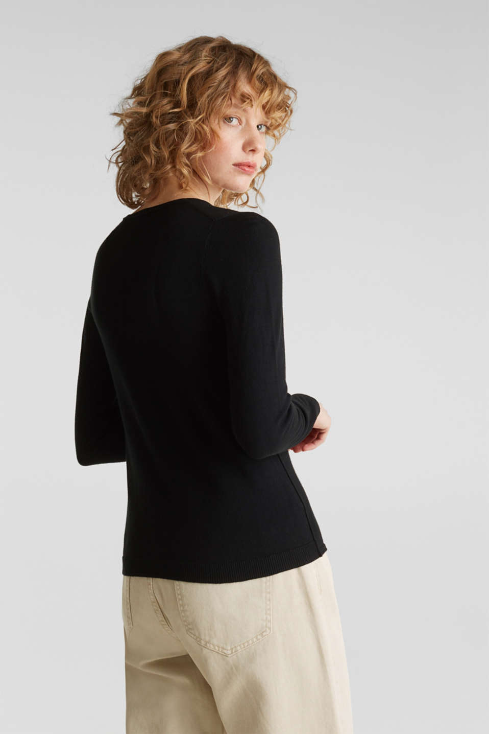 Jumper, organic cotton, BLACK, detail image number 3