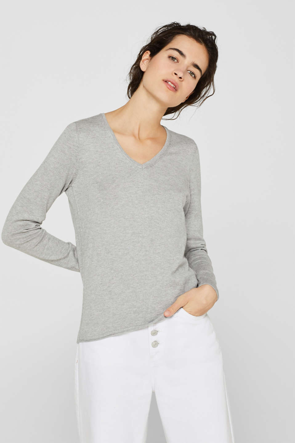 Jumper, organic cotton, LIGHT GREY 5, detail image number 0