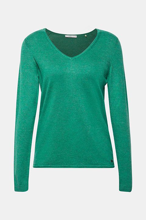 Melange V-neck jumper containing organic cotton