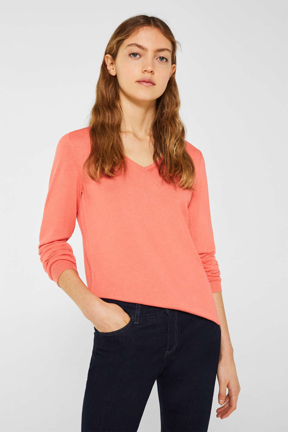 Jumper, organic cotton, CORAL, detail image number 0
