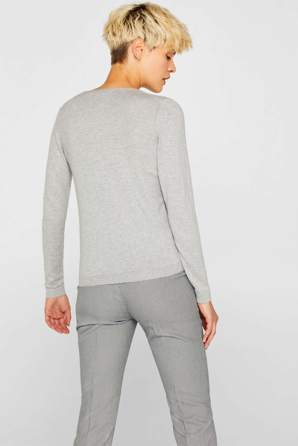 Melange jumper containing organic cotton, LIGHT GREY 5, detail image number 3