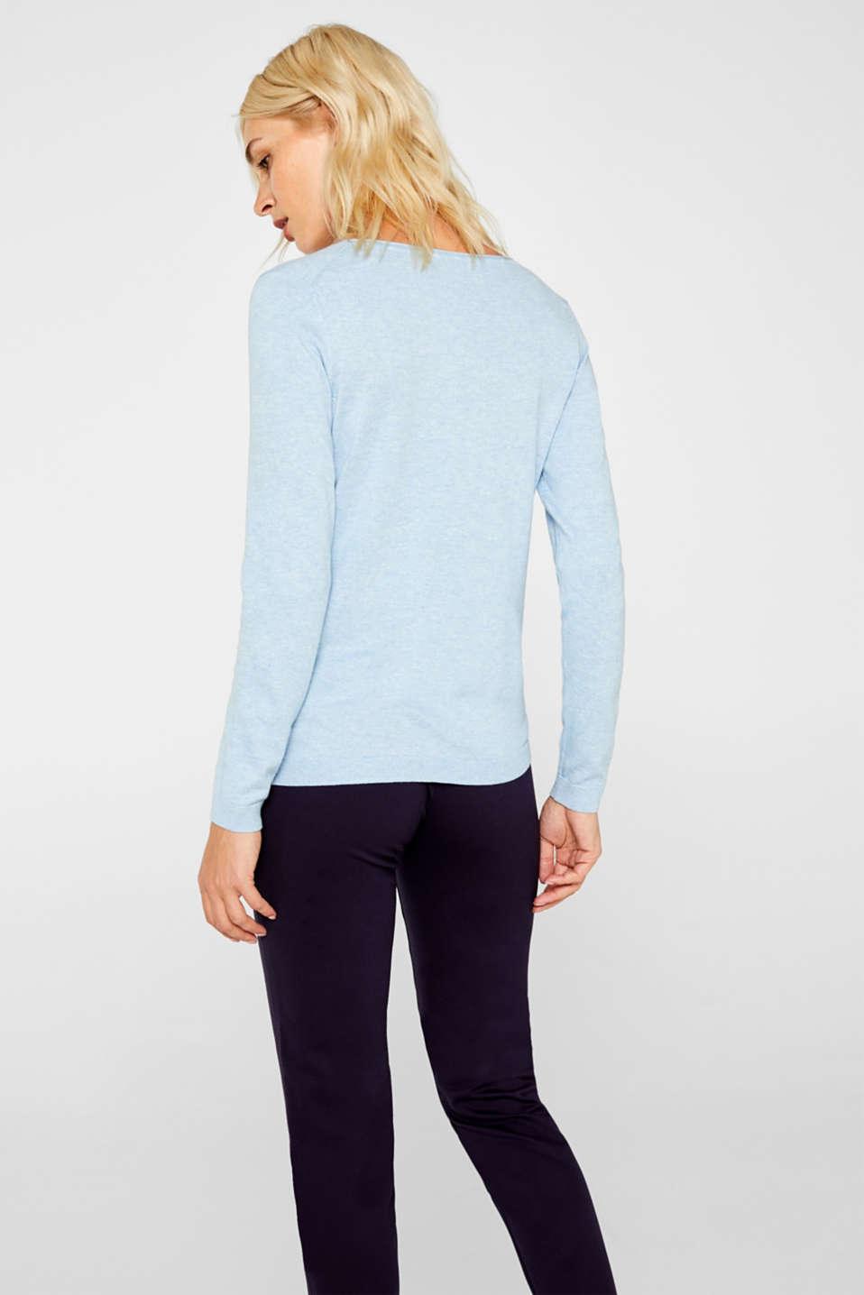 Melange basic jumper, LIGHT BLUE 5, detail image number 3
