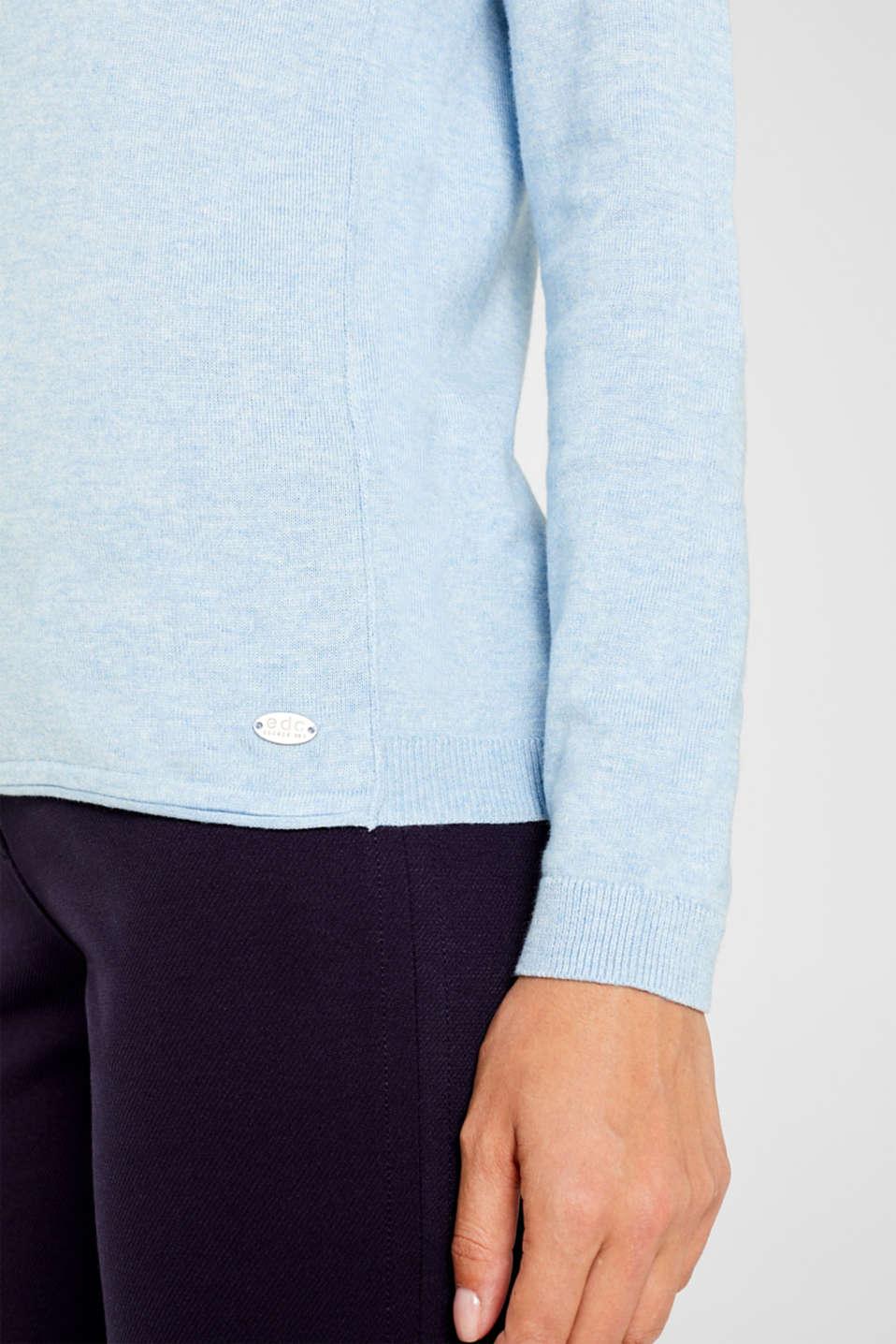 Melange basic jumper, LIGHT BLUE 5, detail image number 2