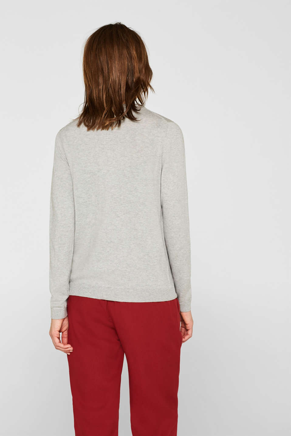 Round neck cardigan containing organic cotton, LIGHT GREY 5, detail image number 3