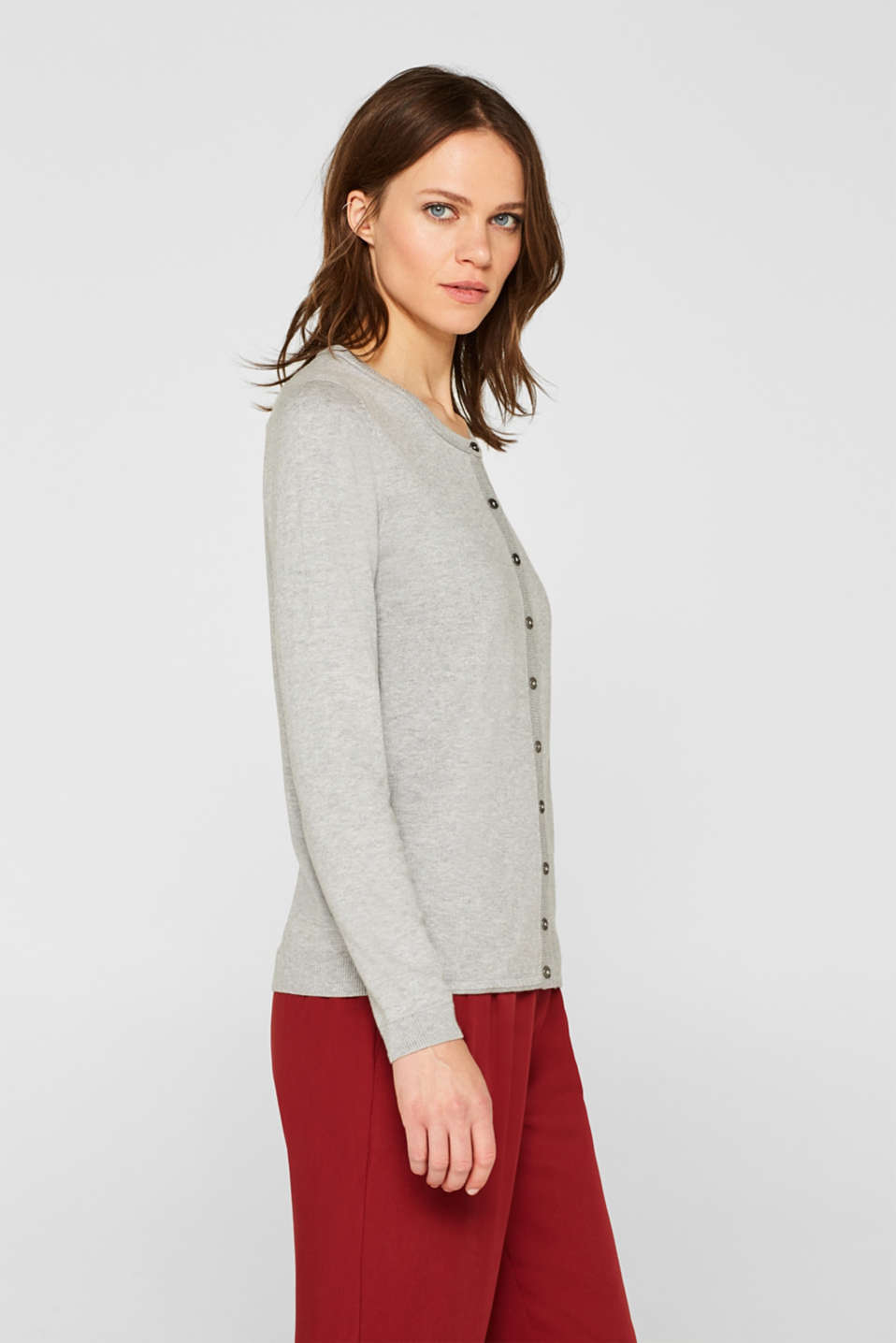 Round neck cardigan containing organic cotton, LIGHT GREY 5, detail image number 5