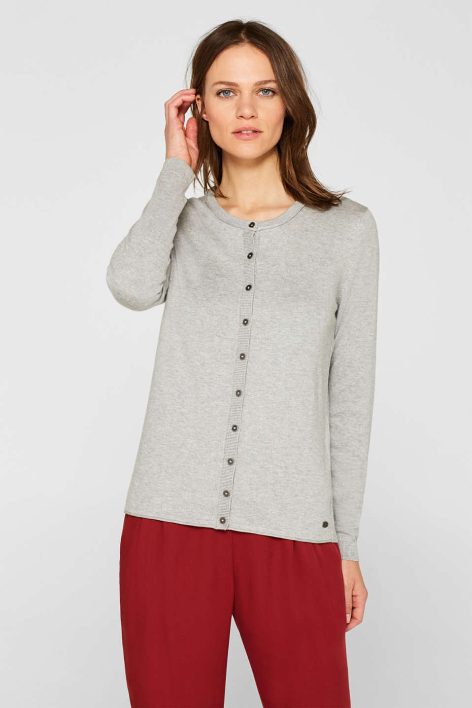 Round neck cardigan containing organic cotton, LIGHT GREY 5, detail image number 6