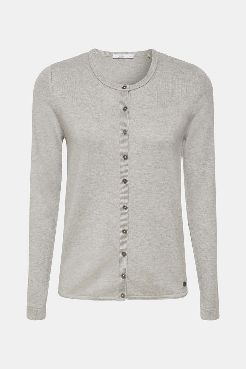 Round neck cardigan containing organic cotton, LIGHT GREY 5, detail image number 7