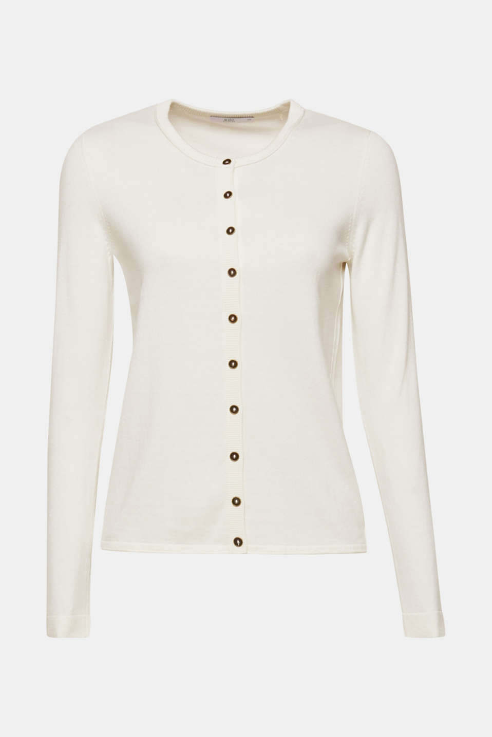 Round neck cardigan containing organic cotton, OFF WHITE, detail image number 6