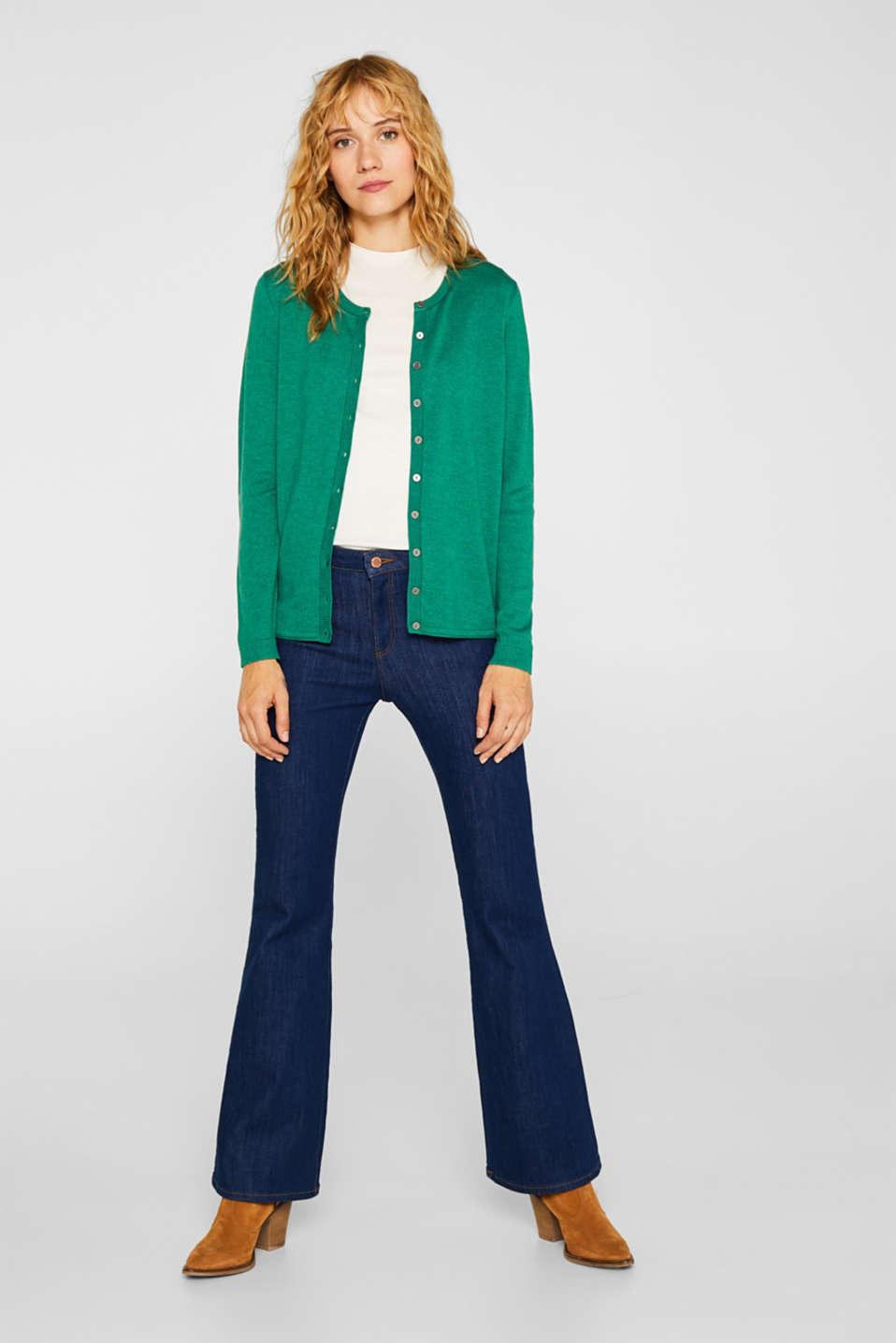 Round neck cardigan containing organic cotton, DARK GREEN 5, detail image number 1