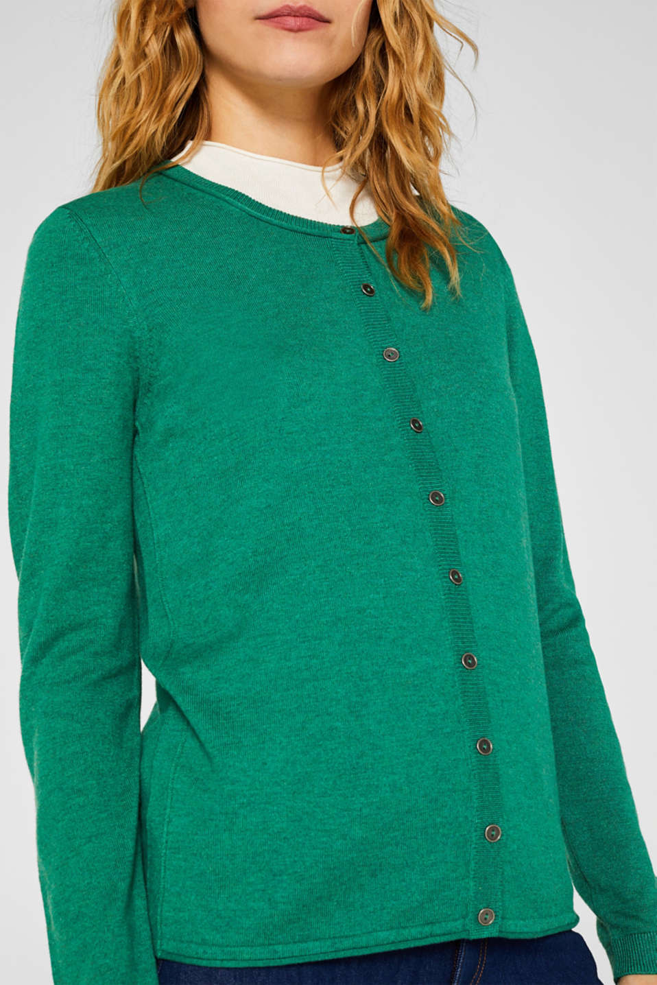 Round neck cardigan containing organic cotton, DARK GREEN 5, detail image number 2