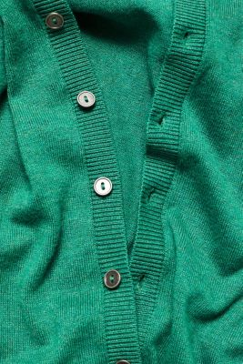Round neck cardigan containing organic cotton, DARK GREEN 5, detail