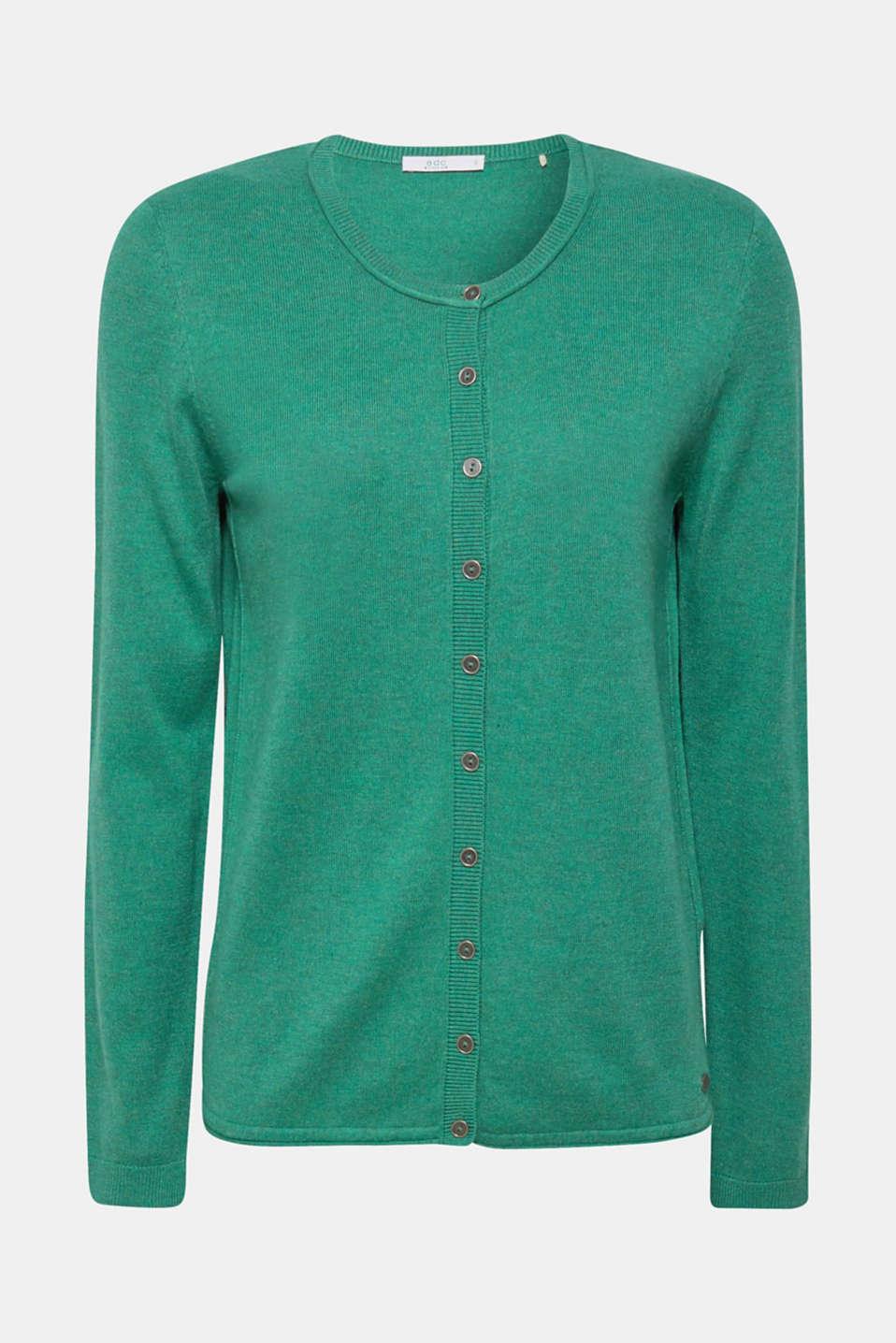 Round neck cardigan containing organic cotton, DARK GREEN 5, detail image number 6