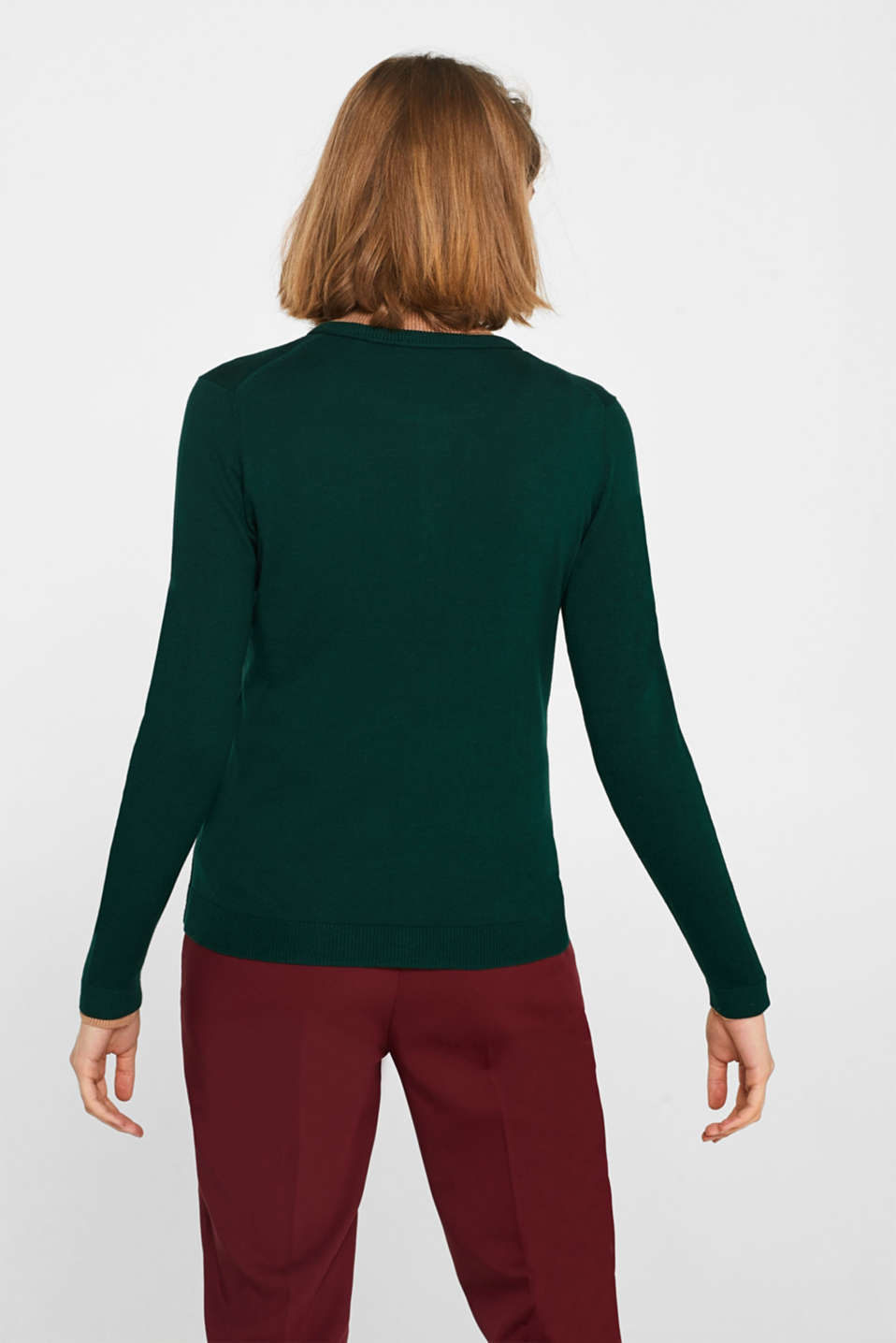 Round neck cardigan containing organic cotton, BOTTLE GREEN, detail image number 3