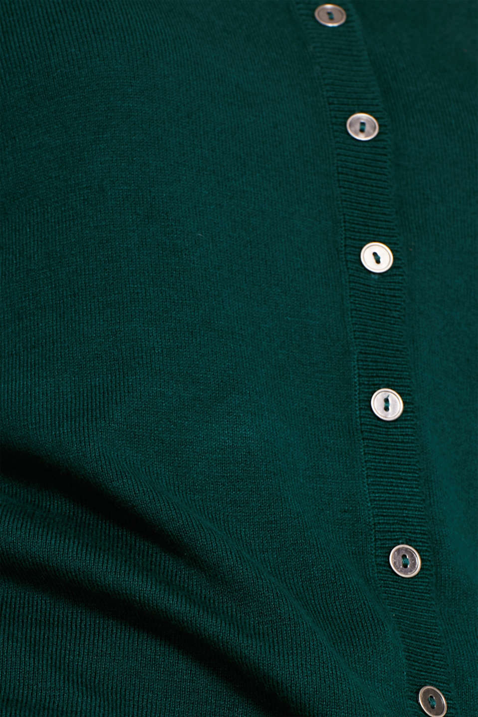 Round neck cardigan containing organic cotton, BOTTLE GREEN, detail image number 4