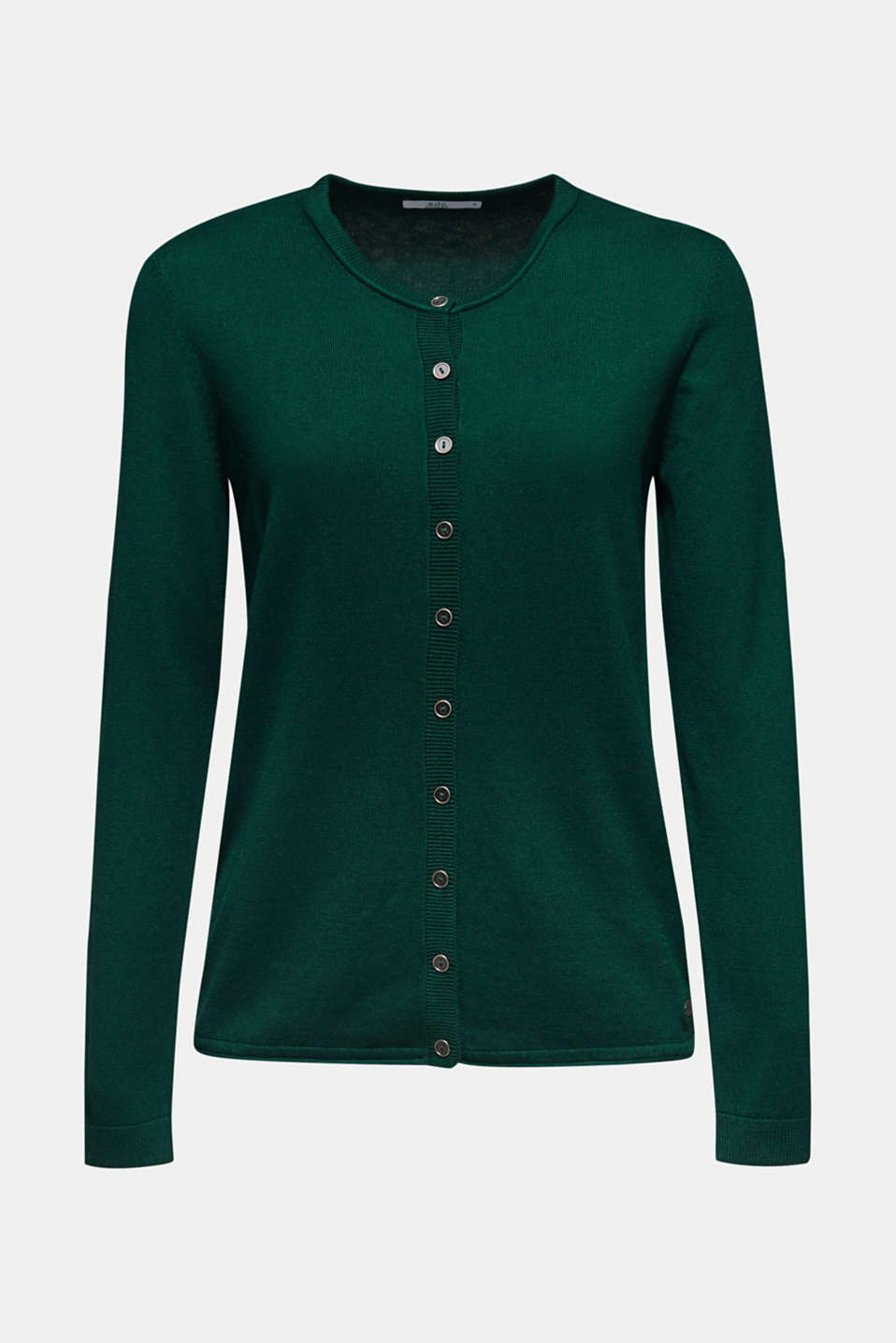 Round neck cardigan containing organic cotton, BOTTLE GREEN, detail image number 5