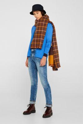 Round neck cardigan containing organic cotton, BRIGHT BLUE, detail