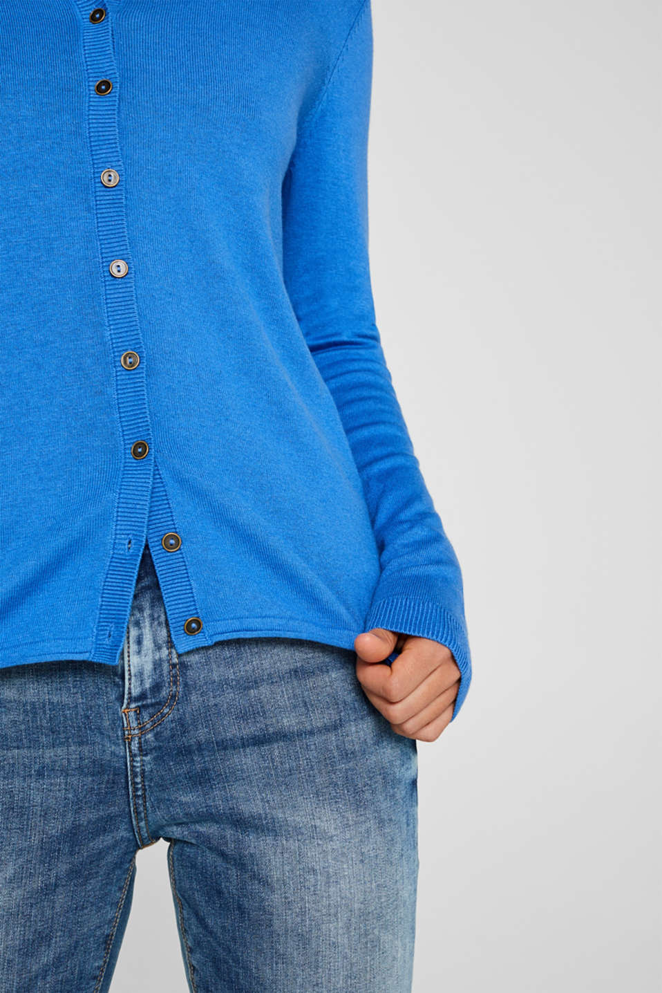 Round neck cardigan containing organic cotton, BRIGHT BLUE, detail image number 2
