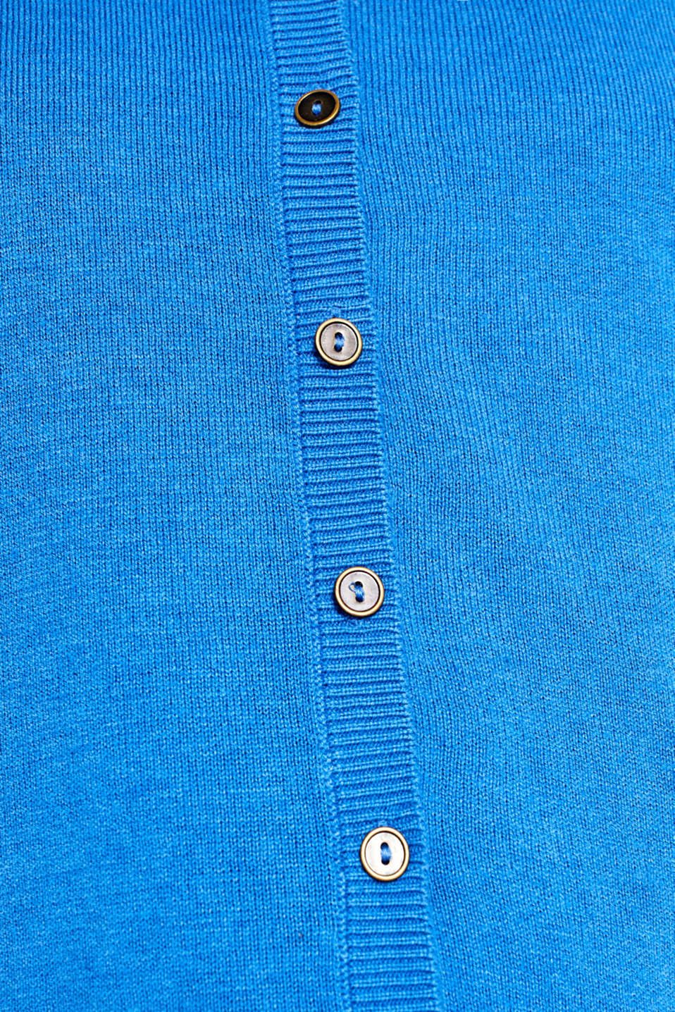 Round neck cardigan containing organic cotton, BRIGHT BLUE, detail image number 4