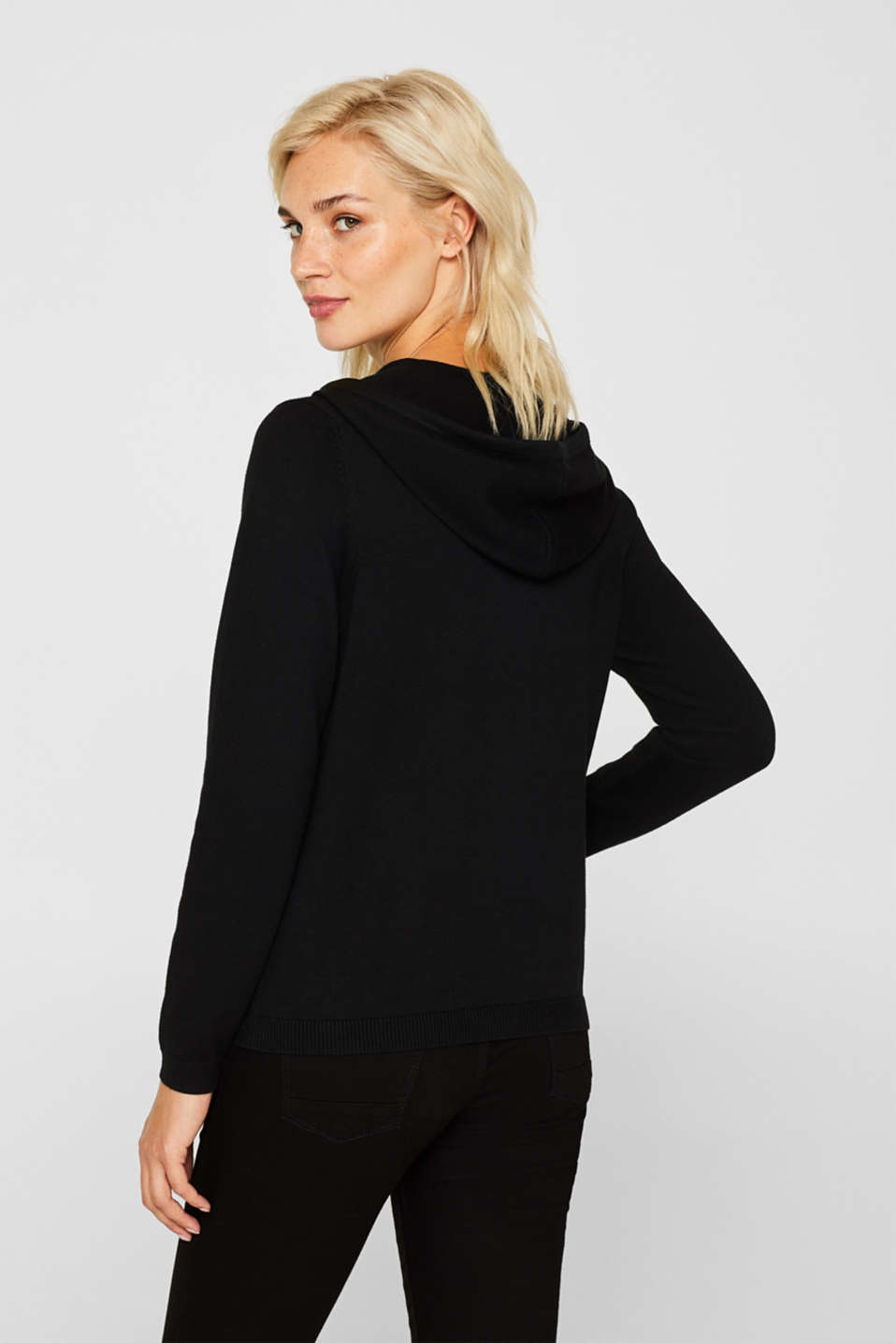 Hooded zip-up cardigan containing organic cotton, BLACK, detail image number 3