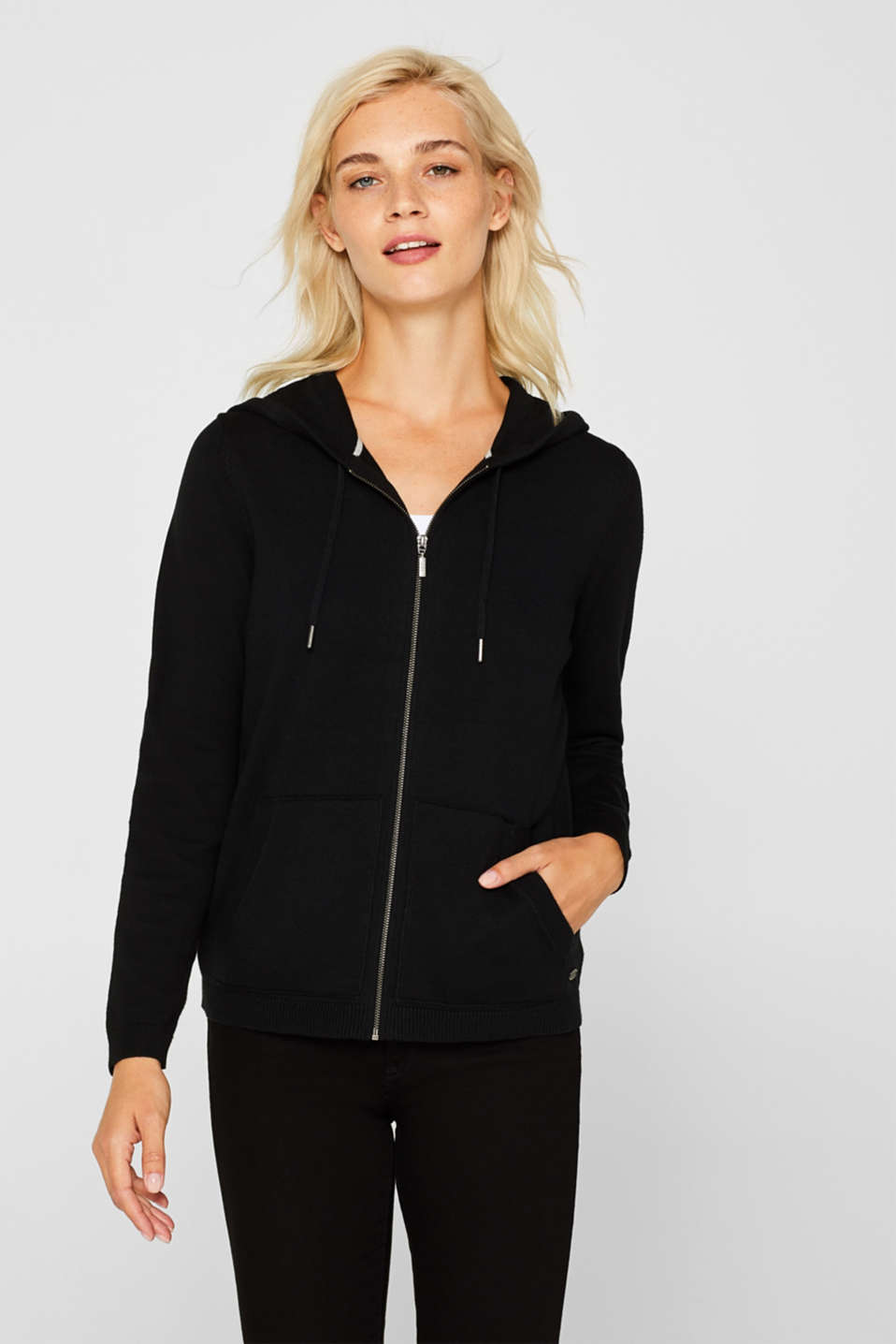 Hooded zip-up cardigan containing organic cotton, BLACK, detail image number 5