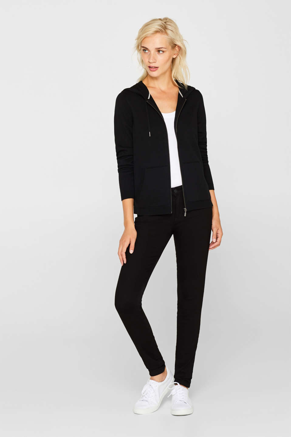 Hooded zip-up cardigan containing organic cotton, BLACK, detail image number 1