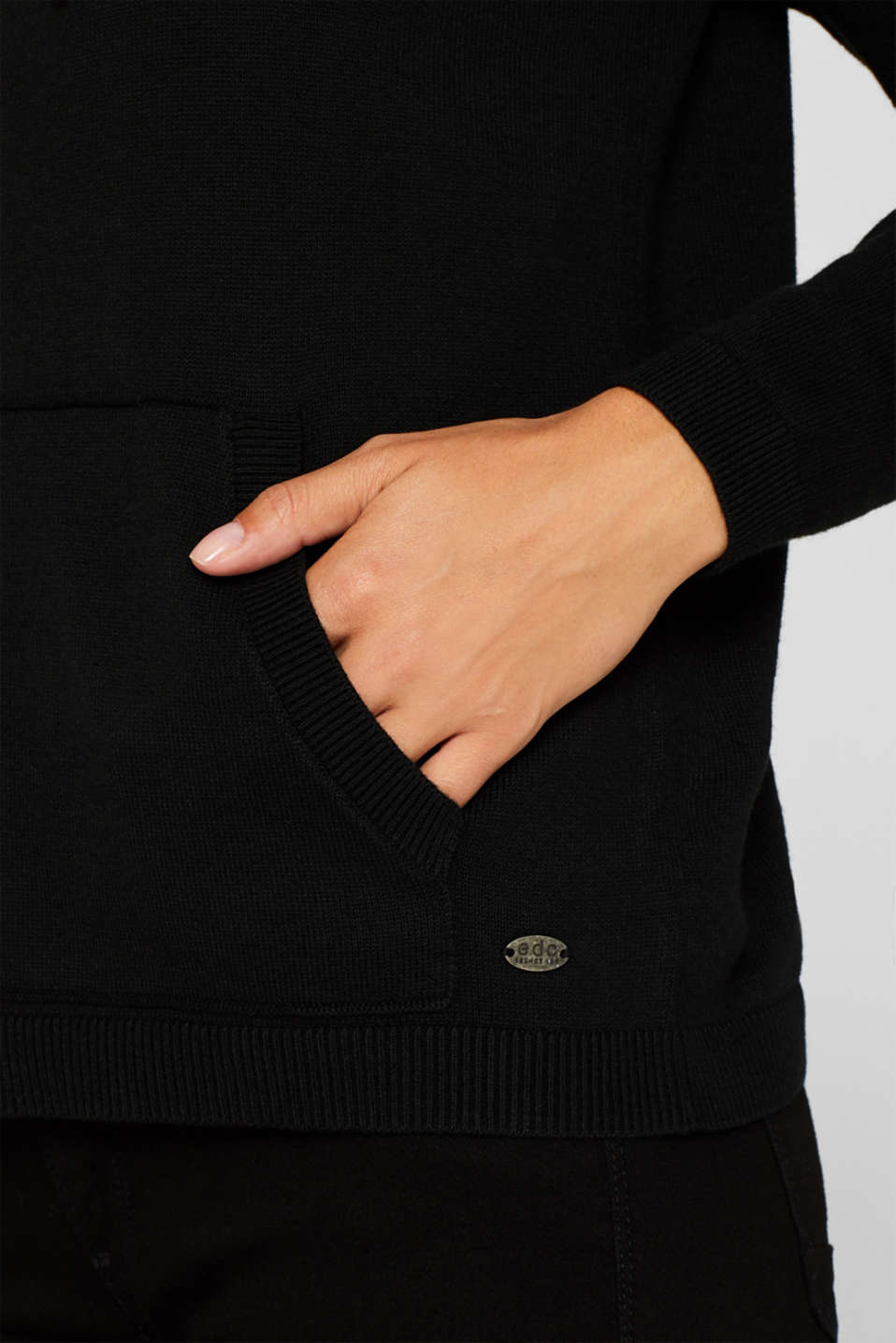 Hooded zip-up cardigan containing organic cotton, BLACK, detail image number 2
