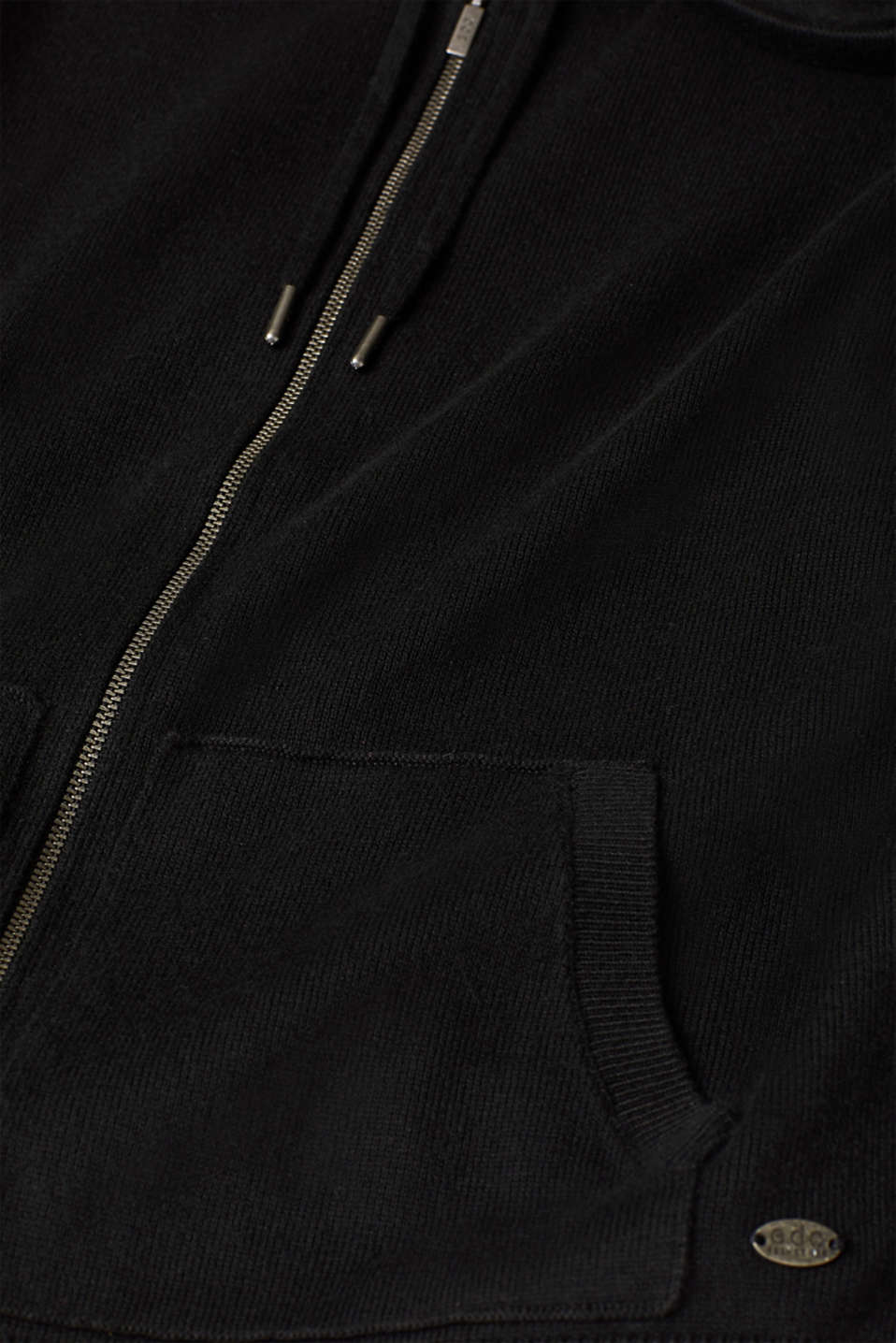 Hooded zip-up cardigan containing organic cotton, BLACK, detail image number 4