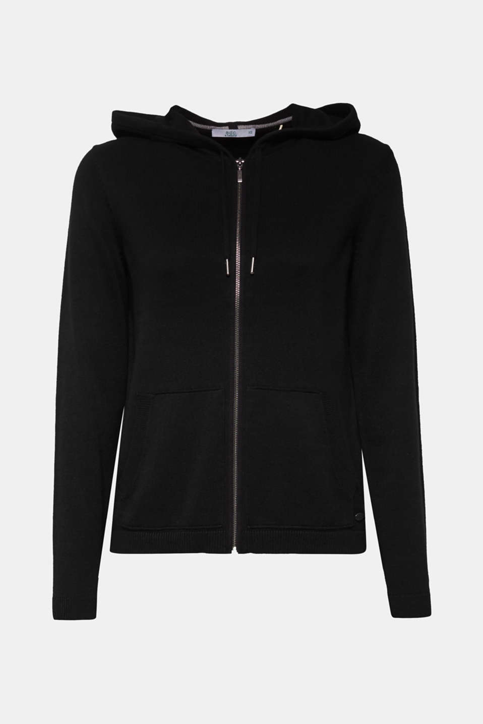 Hooded zip-up cardigan containing organic cotton, BLACK, detail image number 7