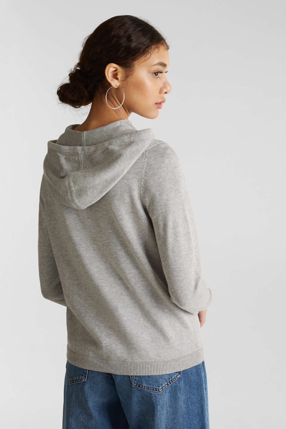 Knitted cardigan with organic cotton, LIGHT GREY 5, detail image number 3