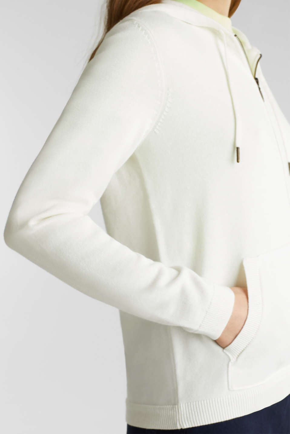 Hooded zip-up cardigan containing organic cotton, OFF WHITE, detail image number 2