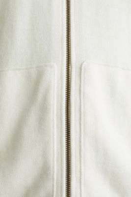 Hooded zip-up cardigan containing organic cotton, OFF WHITE, detail