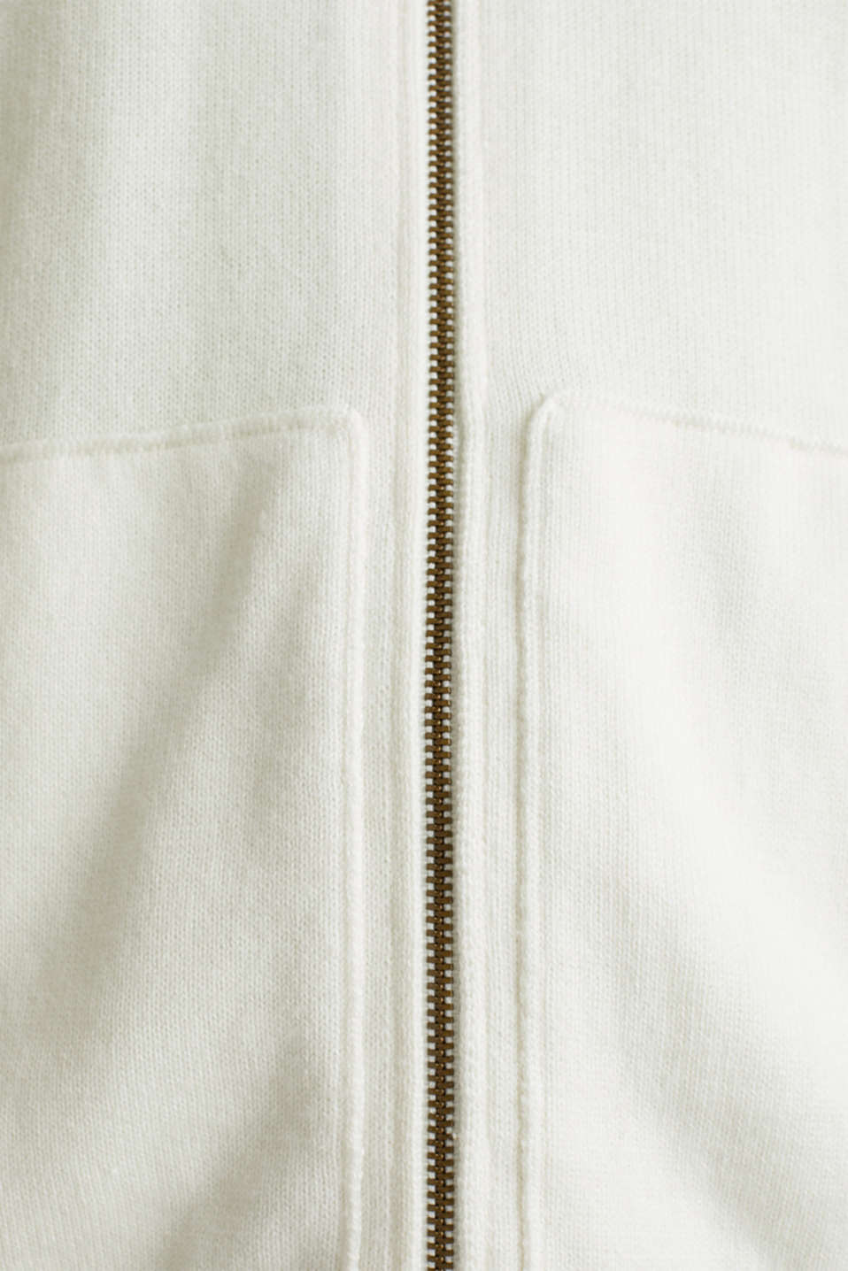 Hooded zip-up cardigan containing organic cotton, OFF WHITE, detail image number 4