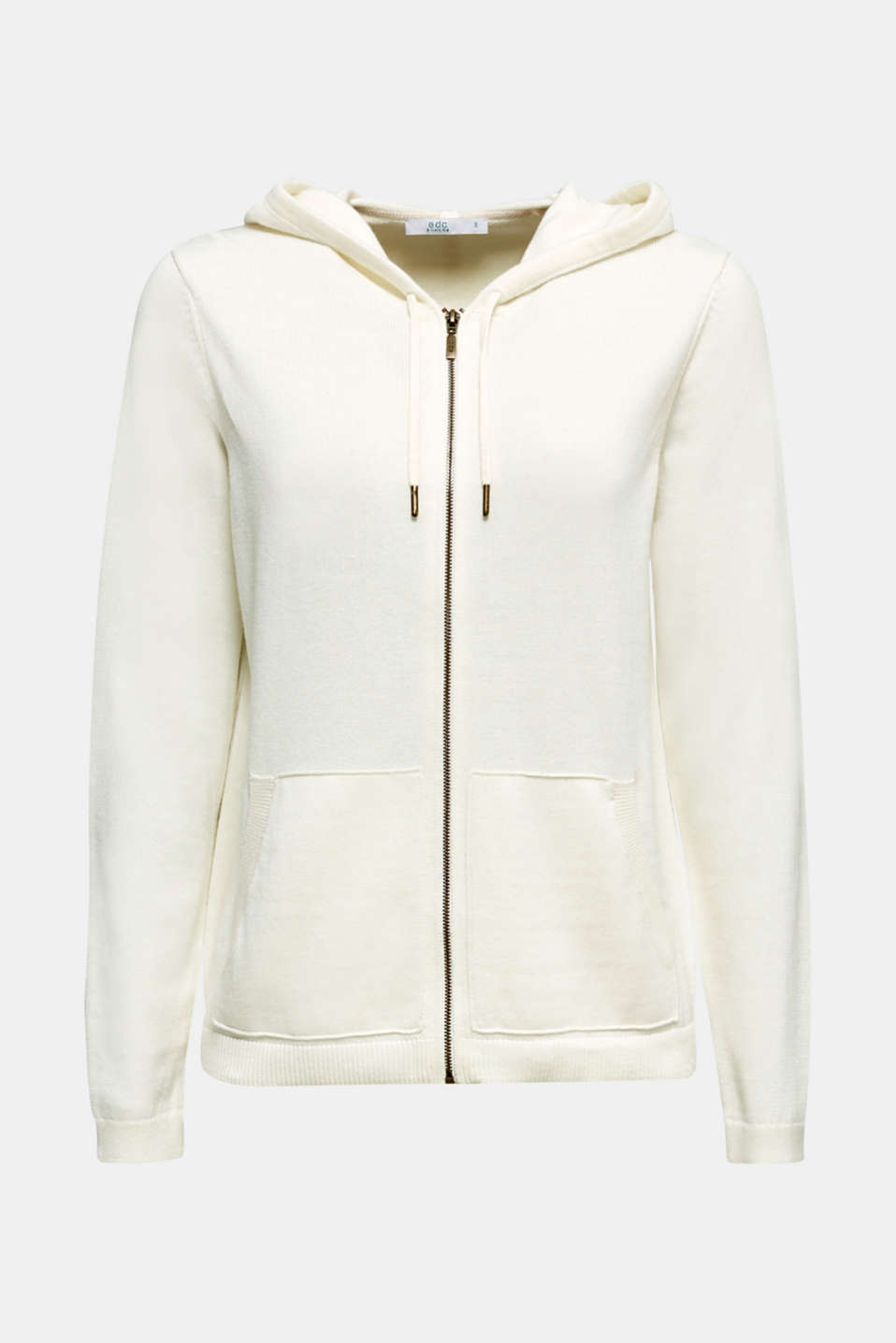 Hooded zip-up cardigan containing organic cotton, OFF WHITE, detail image number 6