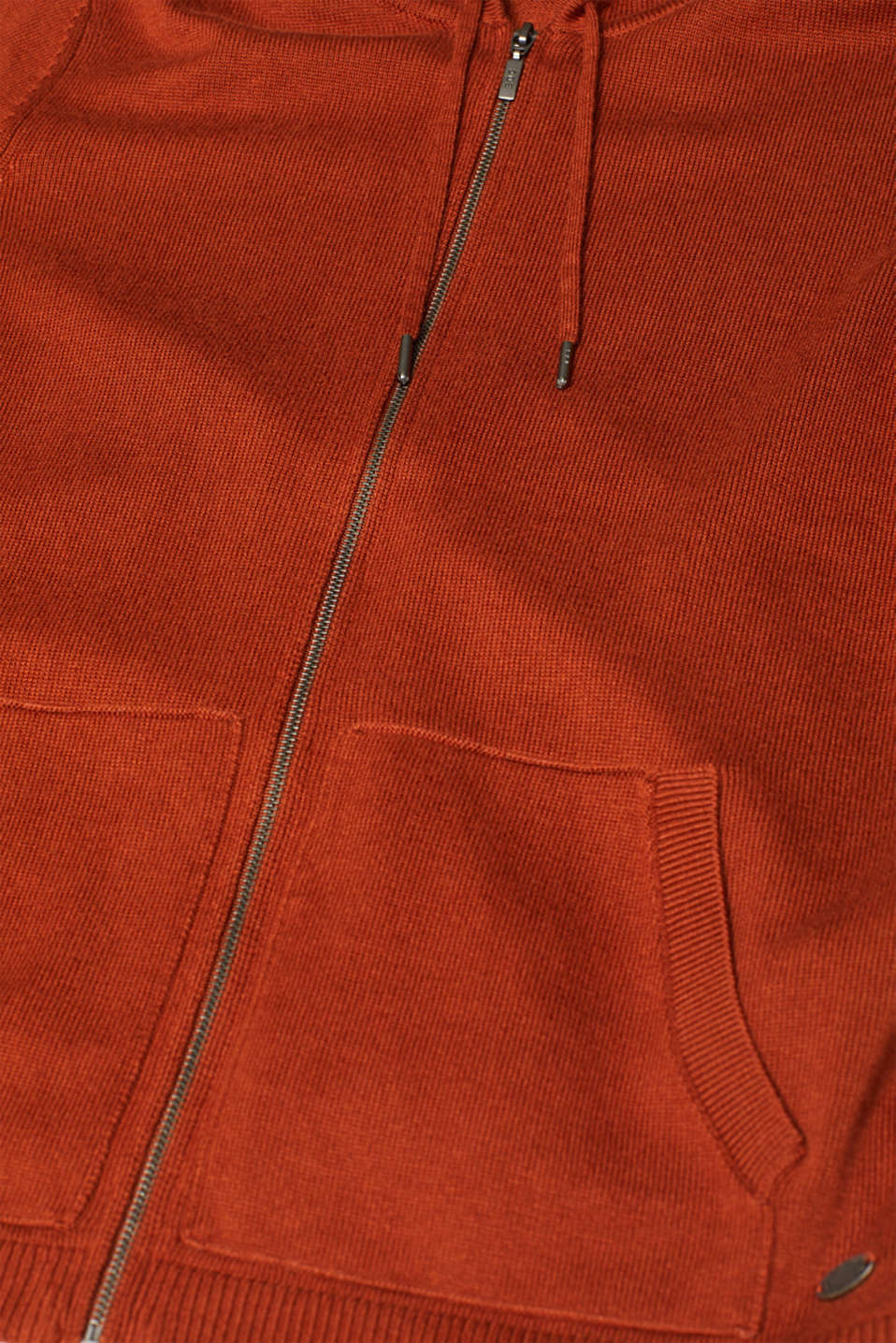 Knitted cardigan with organic cotton, RUST BROWN 5, detail image number 4