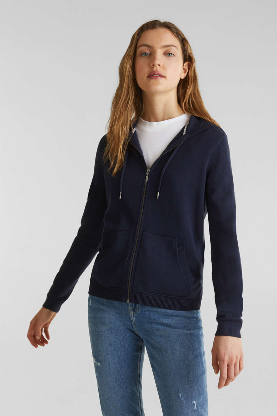 Knitted cardigan with organic cotton, NAVY, detail image number 0