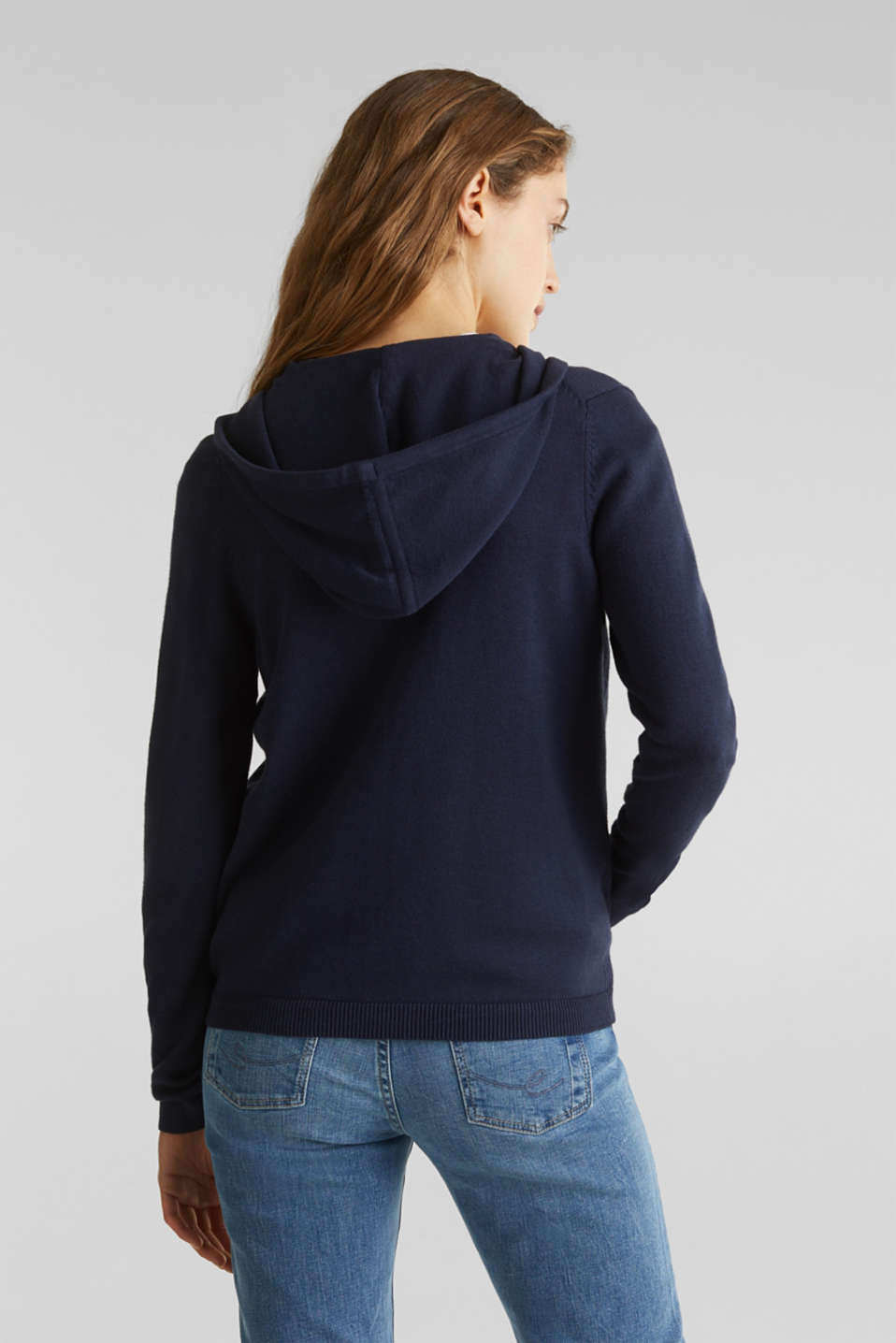 Knitted cardigan with organic cotton, NAVY, detail image number 3