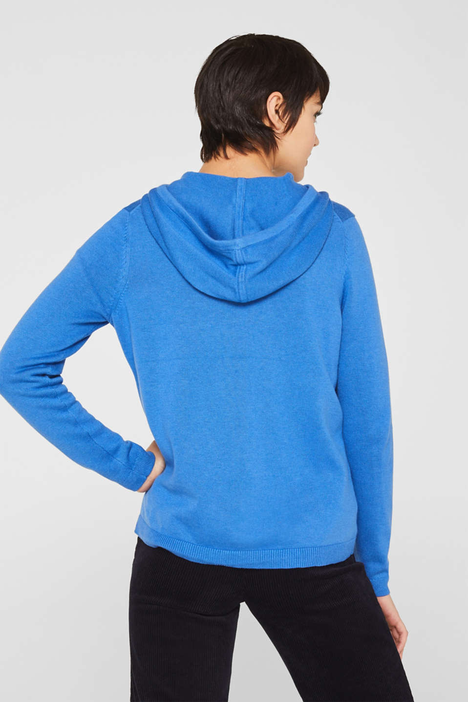 Knitted cardigan with organic cotton, BRIGHT BLUE, detail image number 3